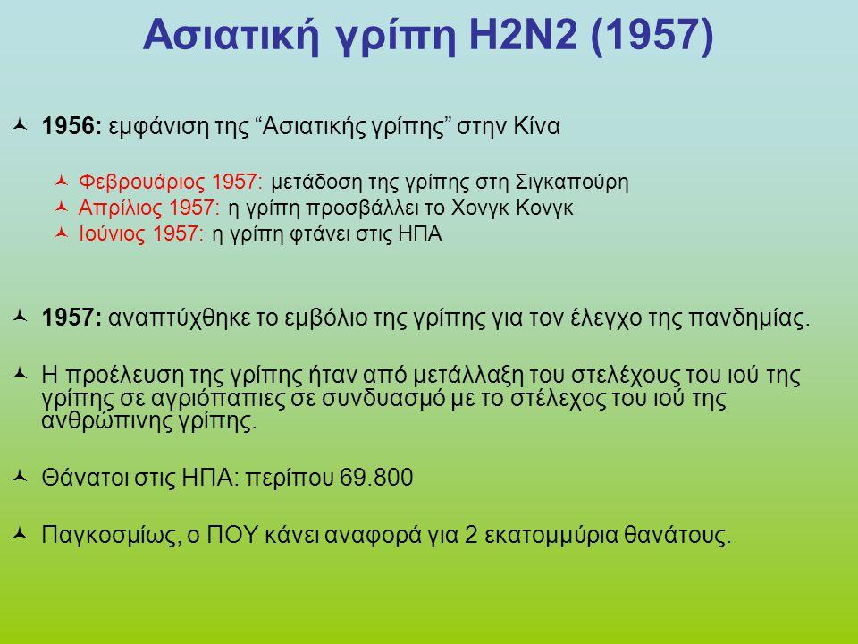 Γρίπη του Χονγκ Κονγκ Η3Ν2 (1968)  Η πανδημία της γρίπης του Χονγκ Κονγκ υπολογίστηκε ότι προκάλεσε το θάνατο 1 εκατομμυρίου ανθρώπων παγκοσμίως.