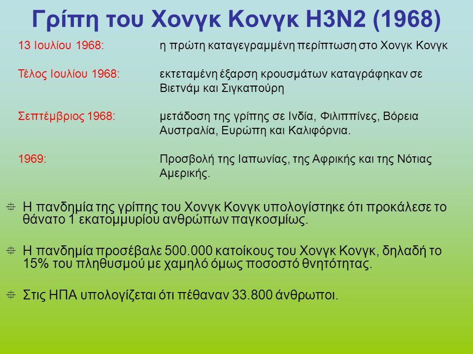 Γρίπη του Χονγκ Κονγκ Η3Ν2 (1968)  Η πανδημία της γρίπης του Χονγκ Κονγκ υπολογίστηκε ότι προκάλεσε το θάνατο 1 εκατομμυρίου ανθρώπων παγκοσμίως.  Η