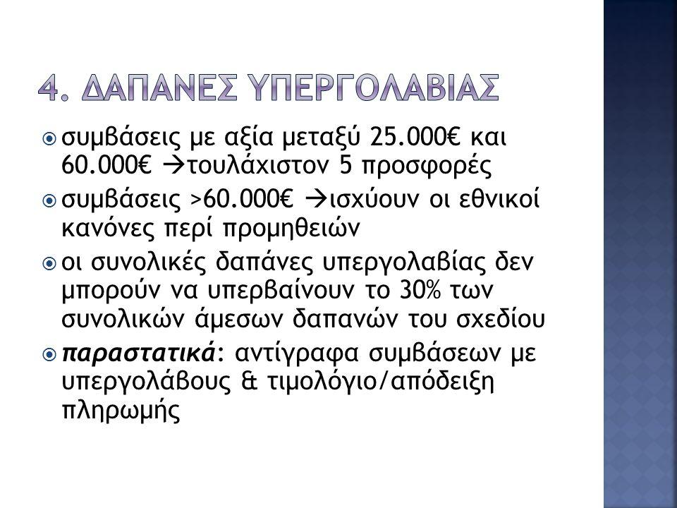  Η σύμβαση υπεργολαβίας ανατίθεται στον διαγωνιζόμενο που παρέχει την καλύτερη αναλογία κόστους-οφέλους  Η διαχείριση και η γενική διοίκηση του σχεδίου δεν μπορούν να ανατεθούν με υπεργολαβία  Συμβάσεις με αξία <12.500€ πληρώνονται με την προσκόμιση τιμολογίου  Συμβάσεις με αξία μεταξύ 12.500€ και 25.000€  τουλάχιστον 3 προσφορές