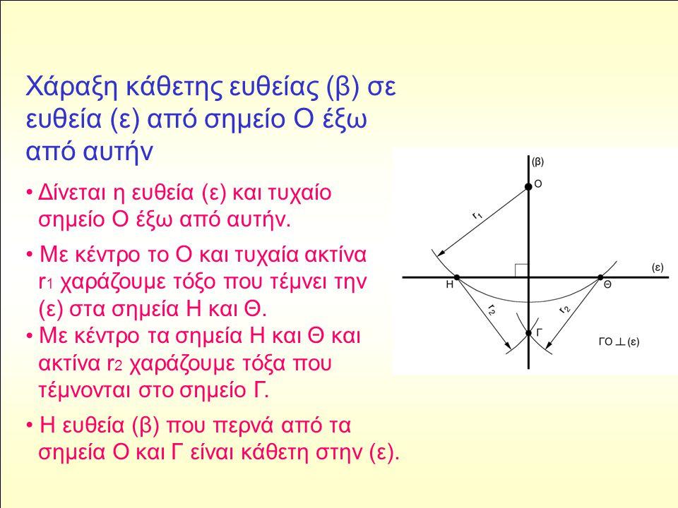 Χάραξη ευθείας παράλληλης με άλλη ευθεία, όταν δίνεται η μεταξύ τους απόσταση • Δίνεται η ευθεία (ε1) και η απόσταση μεταξύ της ευθείας και της παράλληλής της.