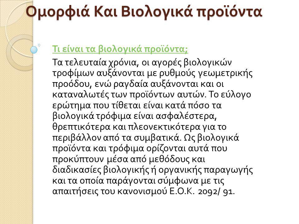 ΟΜΑΔΑ PROJECT FACE TO FACE 2011-2012 A TEΤΡΑΜΗΝΟ 17ο Γενικό Λύκειο Αθηνών Μυρτώ Αρβανίτη Ομορφιάκαι Βιολογικά προϊόντα