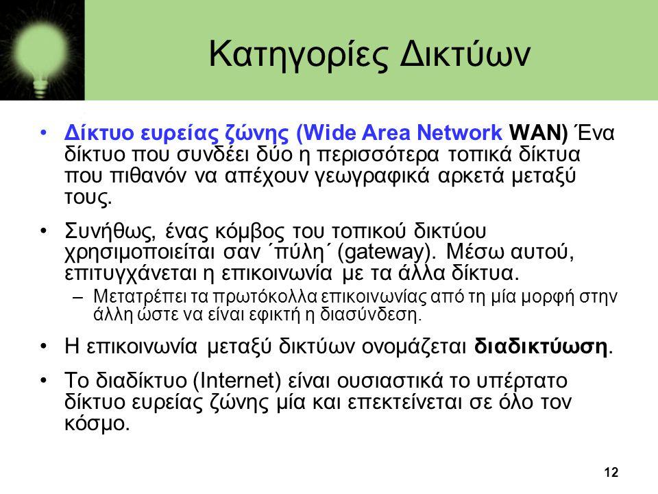 12 Κατηγορίες Δικτύων •Δίκτυο ευρείας ζώνης (Wide Αrea Νetwork WAN) Ένα δίκτυο που συνδέει δύο η περισσότερα τοπικά δίκτυα που πιθανόν να απέχουν γεωγραφικά αρκετά μεταξύ τους.