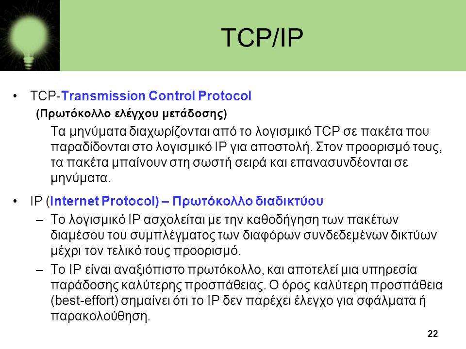 22 TCP/IP •TCP-Transmission Control Protocol (Πρωτόκολλο ελέγχου μετάδοσης) Τα μηνύματα διαχωρίζονται από το λογισμικό TCP σε πακέτα που παραδίδονται στο λογισμικό IP για αποστολή.