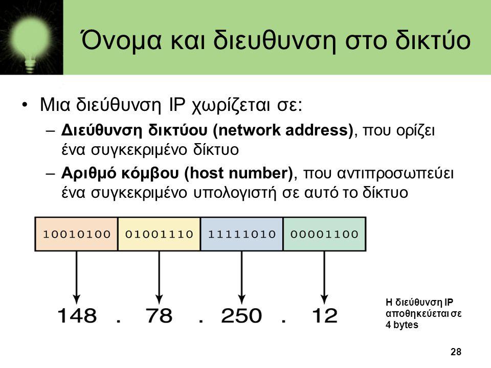 28 Όνομα και διευθυνση στο δικτύο •Μια διεύθυνση IP χωρίζεται σε: –Διεύθυνση δικτύου (network address), που ορίζει ένα συγκεκριμένο δίκτυο –Αριθμό κόμβου (host number), που αντιπροσωπεύει ένα συγκεκριμένο υπολογιστή σε αυτό το δίκτυο Η διεύθυνση IP αποθηκεύεται σε 4 bytes