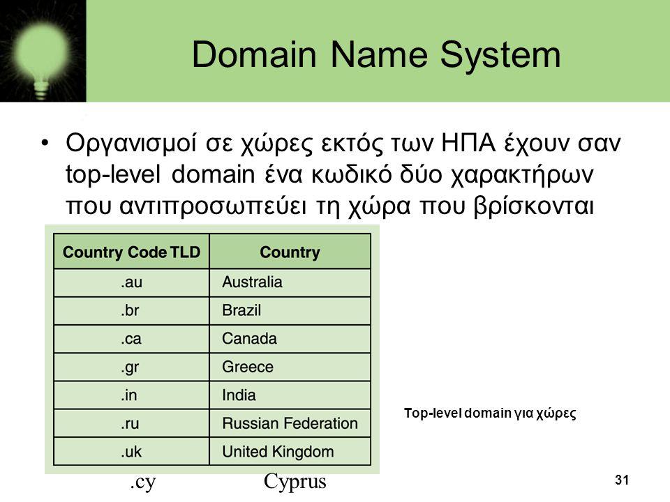 31 Domain Name System •Οργανισμοί σε χώρες εκτός των ΗΠΑ έχουν σαν top-level domain ένα κωδικό δύο χαρακτήρων που αντιπροσωπεύει τη χώρα που βρίσκονται Τop-level domain για χώρες.cyCyprus