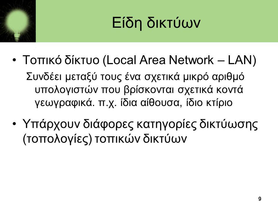 9 Είδη δικτύων •Τοπικό δίκτυο (Local Area Network – LAN) Συνδέει μεταξύ τους ένα σχετικά μικρό αριθμό υπολογιστών που βρίσκονται σχετικά κοντά γεωγραφ
