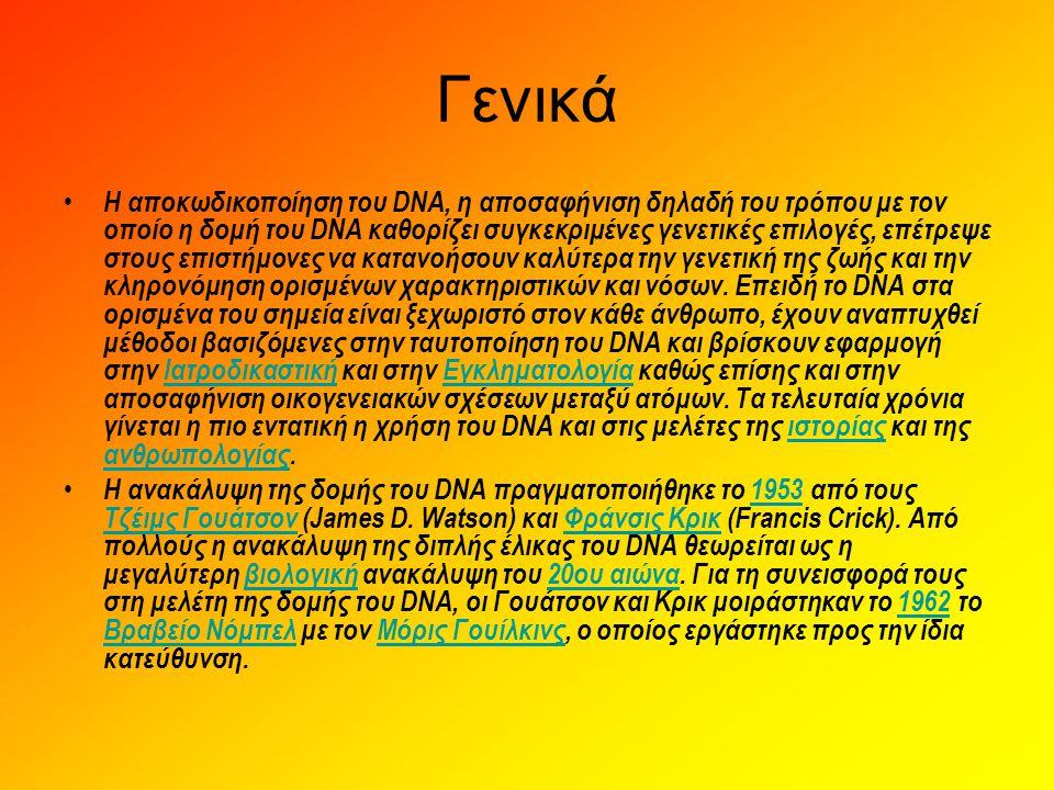 Ανίχνευση - ρόλος του DNA • Πρόκειται για μια μεγαλομοριακή ένωση που συγκροτείται από αζωτούχες- πρωτεϊνικές βάσεις, φωσφορικές ρίζες και ένα σάκχαρο με πέντε άτομα άνθρακα (πεντόζη), την δε(σ)οξυριβόζη.