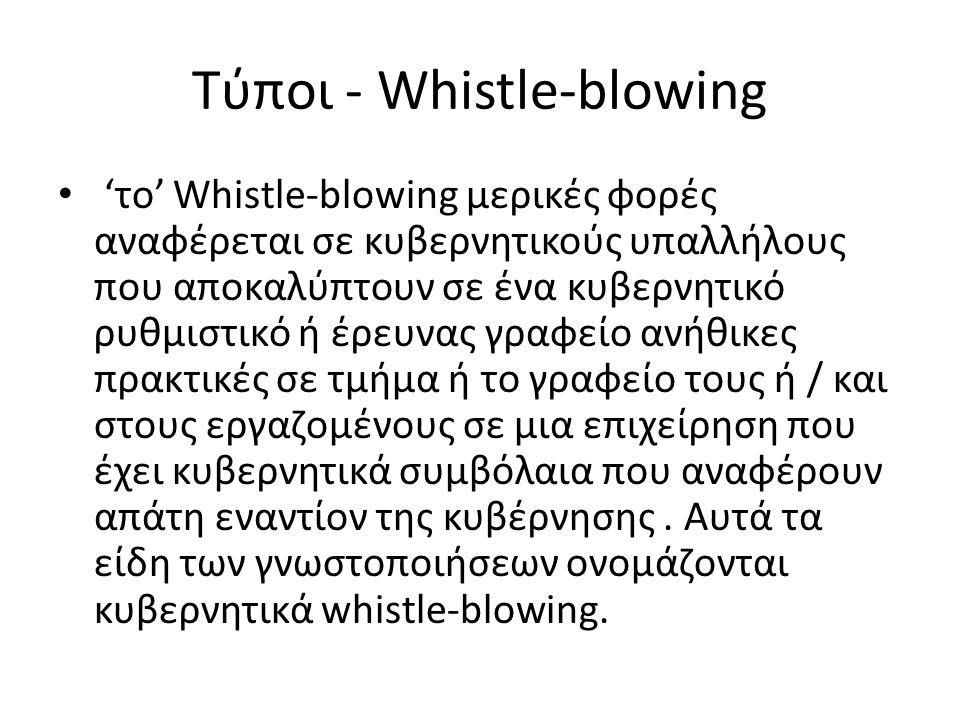 Tύποι - Whistle-blowing • 'το' Whistle-blowing μερικές φορές αναφέρεται σε κυβερνητικούς υπαλλήλους που αποκαλύπτουν σε ένα κυβερνητικό ρυθμιστικό ή έ