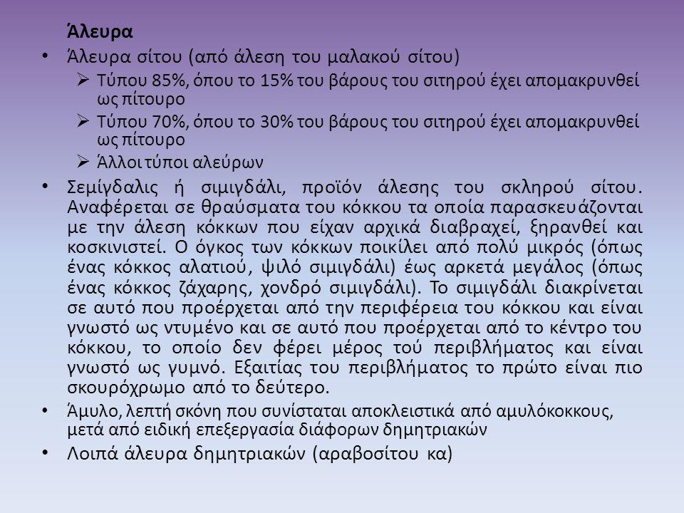 Άλευρα • Άλευρα σίτου (από άλεση του μαλακού σίτου)  Τύπου 85%, όπου το 15% του βάρους του σιτηρού έχει απομακρυνθεί ως πίτουρο  Τύπου 70%, όπου το