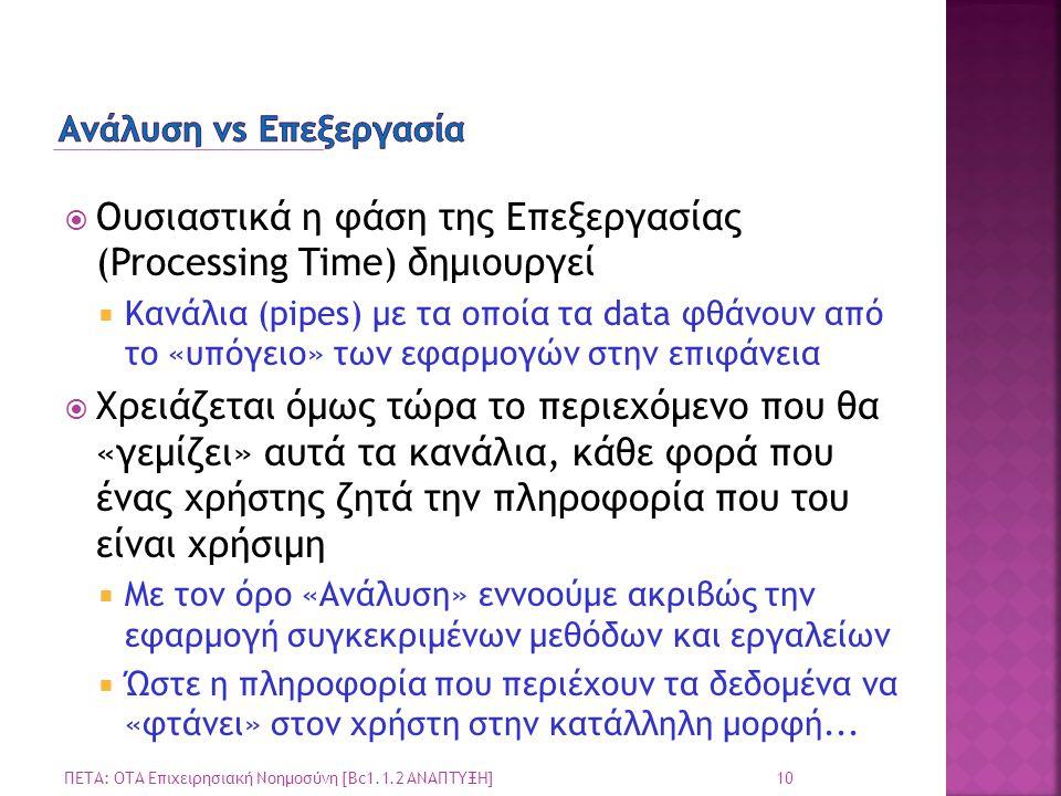  Ουσιαστικά η φάση της Επεξεργασίας (Processing Time) δημιουργεί  Κανάλια (pipes) με τα οποία τα data φθάνουν από το «υπόγειο» των εφαρμογών στην επ