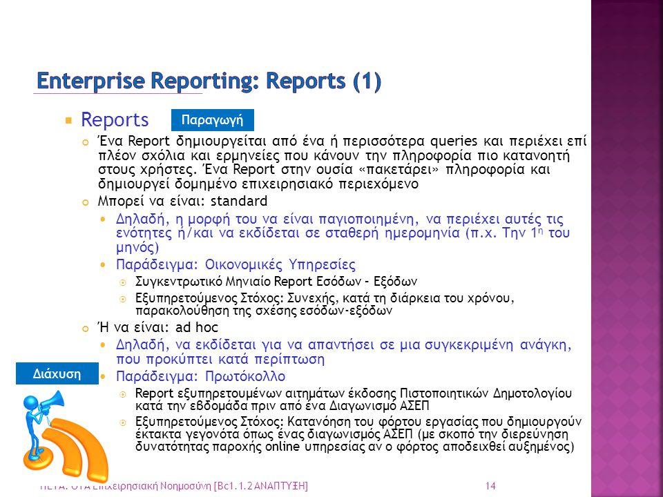  Reports Ένα Report δημιουργείται από ένα ή περισσότερα queries και περιέχει επί πλέον σχόλια και ερμηνείες που κάνουν την πληροφορία πιο κατανοητή σ