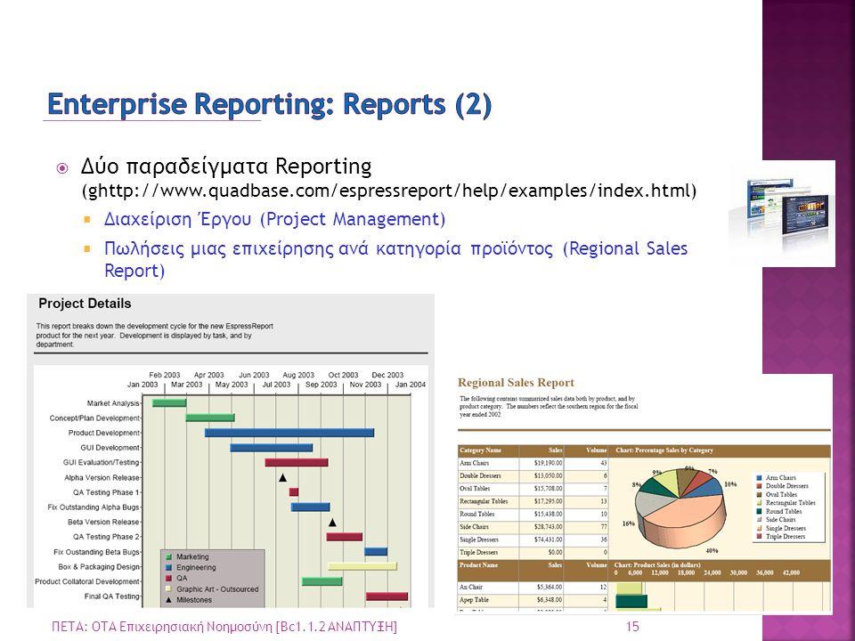  Δύο παραδείγματα Reporting (ghttp://www.quadbase.com/espressreport/help/examples/index.html)  Διαχείριση Έργου (Project Management)  Πωλήσεις μιας