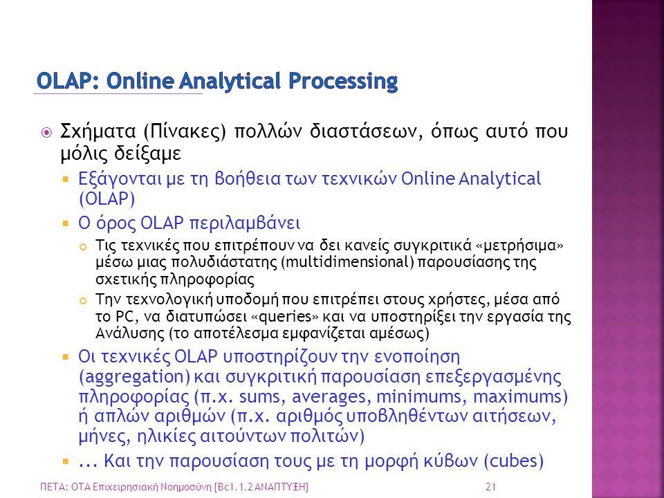  Σχήματα (Πίνακες) πολλών διαστάσεων, όπως αυτό που μόλις δείξαμε  Εξάγονται με τη βοήθεια των τεχνικών Online Analytical (OLAP)  Ο όρος OLAP περιλ