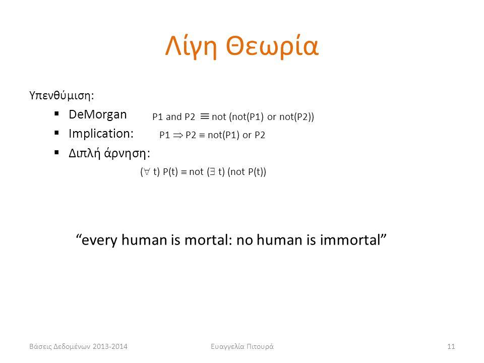 Βάσεις Δεδομένων 2013-2014Ευαγγελία Πιτουρά11 Υπενθύμιση:  DeMorgan  Ιmplication:  Διπλή άρνηση: every human is mortal: no human is immortal P1 and P2  not (not(P1) or not(P2)) P1  P2  not(P1) or P2 (  t) P(t)  not (  t) (not P(t)) Λίγη Θεωρία