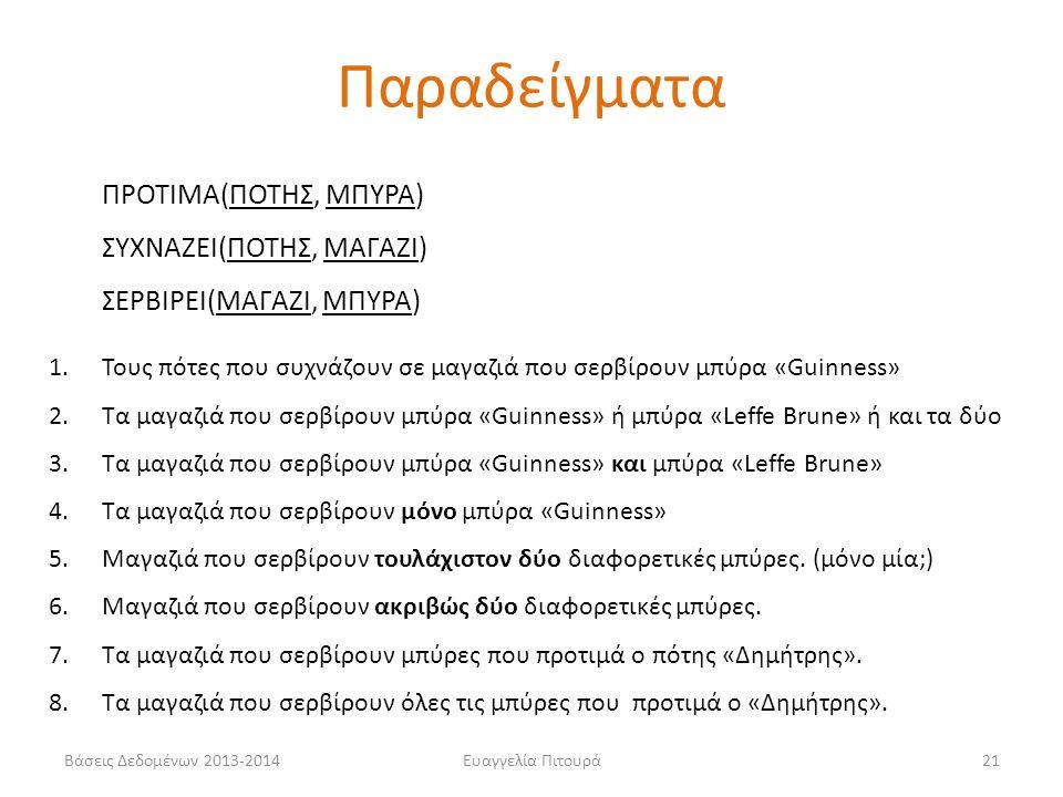 Βάσεις Δεδομένων 2013-2014Ευαγγελία Πιτουρά21 ΠΡΟΤΙΜΑ(ΠΟΤΗΣ, ΜΠΥΡΑ) ΣΥΧΝΑΖΕΙ(ΠΟΤΗΣ, ΜΑΓΑΖΙ) ΣΕΡΒΙΡΕΙ(ΜΑΓΑΖΙ, ΜΠΥΡΑ) 1.Τους πότες που συχνάζουν σε μαγαζιά που σερβίρουν μπύρα «Guinness» 2.Tα μαγαζιά που σερβίρουν μπύρα «Guinness» ή μπύρα «Leffe Brune» ή και τα δύο 3.Tα μαγαζιά που σερβίρουν μπύρα «Guinness» και μπύρα «Leffe Brune» 4.Tα μαγαζιά που σερβίρουν μόνο μπύρα «Guinness» 5.Μαγαζιά που σερβίρουν τουλάχιστον δύο διαφορετικές μπύρες.