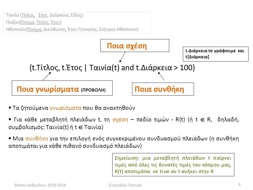 Βάσεις Δεδομένων 2013-2014Ευαγγελία Πιτουρά 6 {t.Τίτλος, t.Έτος | Ταινία(t) and t.Διάρκεια > 100} Ποια γνωρίσματα (ΠΡΟΒΟΛΗ) Ποια σχέση Ποια συνθήκη  Τα ζητούμενα γνωρίσματα που θα ανακτηθούν  Για κάθε μεταβλητή πλειάδων t, τη σχέση – πεδίο τιμών - R(t) (ή t  R, δηλαδή, συμβολισμός: Ταινία(t) ή t  Ταινία)  Μια συνθήκη για την επιλογή ενός συγκεκριμένου συνδυασμού πλειάδων (η συνθήκη αποτιμάται για κάθε πιθανό συνδυασμό πλειάδων) Σημείωση: μια μεταβλητή πλειάδων t παίρνει τιμές από όλες τις δυνατές τιμές του κόσμου μας, R(t) αποτιμάται σε true αν t ανήκει στην R Ταινία (Τίτλος, Έτος, Διάρκεια, Είδος) Παίζει(Όνομα, Τίτλος, Έτος) Ηθοποιός(Όνομα, Διεύθυνση, Έτος-Γέννησης, Σύζυγος-Ηθοποιού) t.Διάρκεια το γράφουμε και t[Διάρκεια]