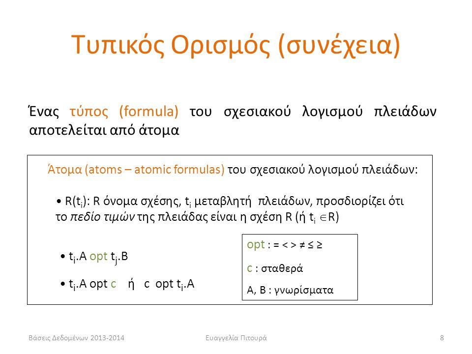 Βάσεις Δεδομένων 2013-2014Ευαγγελία Πιτουρά8 Ένας τύπος (formula) του σχεσιακού λογισμού πλειάδων αποτελείται από άτομα Άτομα (atoms – atomic formulas) του σχεσιακού λογισμού πλειάδων: • R(t i ): R όνομα σχέσης, t i μεταβλητή πλειάδων, προσδιορίζει ότι το πεδίο τιμών της πλειάδας είναι η σχέση R (ή t i  R) • t i.A opt t j.B • t i.A opt c ή c opt t i.A opt : = ≠ ≤ ≥ c : σταθερά A, B : γνωρίσματα Τυπικός Ορισμός (συνέχεια)