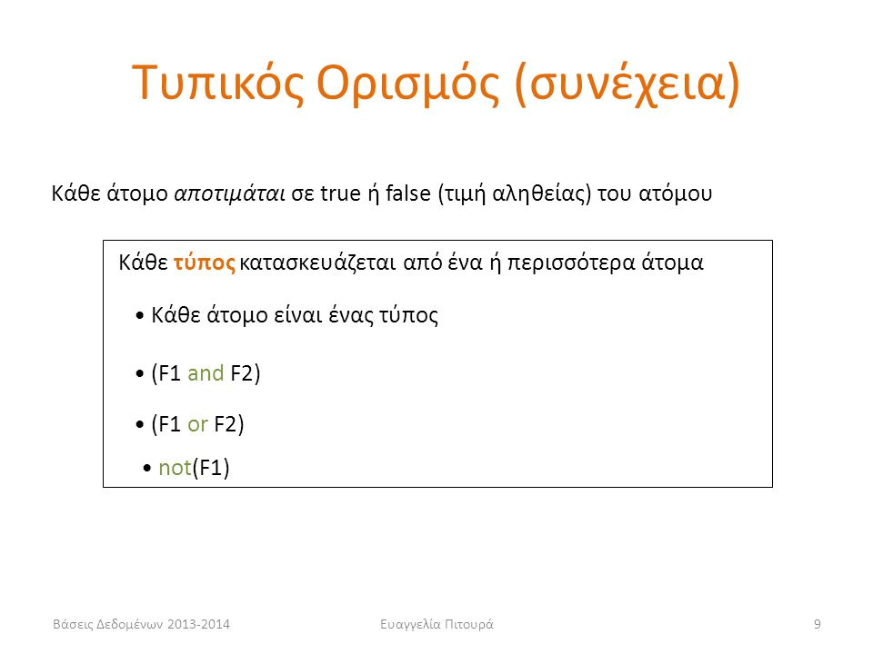 Βάσεις Δεδομένων 2013-2014Ευαγγελία Πιτουρά9 Κάθε άτομο αποτιμάται σε true ή false (τιμή αληθείας) του ατόμου Κάθε τύπος κατασκευάζεται από ένα ή περισσότερα άτομα • Κάθε άτομο είναι ένας τύπος • (F1 or F2) • (F1 and F2) • not(F1) Τυπικός Ορισμός (συνέχεια)