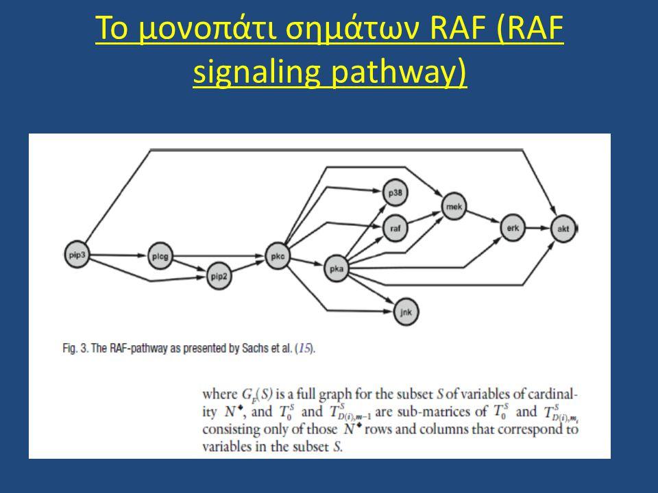 • Το σηματοδοτικό μονοπάτι RAF το οποίο φαίνεται στο ανωτέρω σχήμα περιγράφει τις διακυτταρικές συσχετίσεις ανάμεσα στα διαφορετικά μόρια που αλληλεπιδρούν για τη μετάδοση του σήματος.
