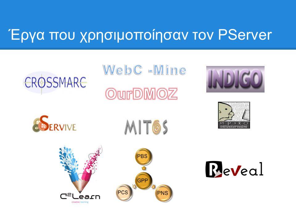 Έργα που χρησιμοποίησαν τον PServer