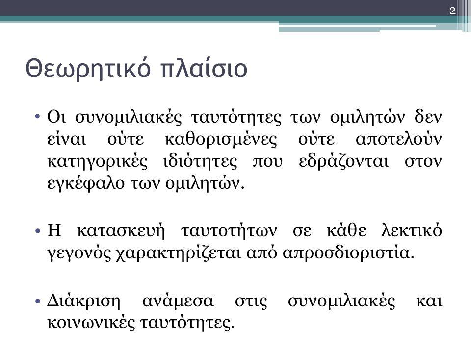 Θεωρητικό πλαίσιο • Διεπιδραστικοί ρόλοι συμμετεχόντων στη διαδικασία της συνομιλίας (π.χ.