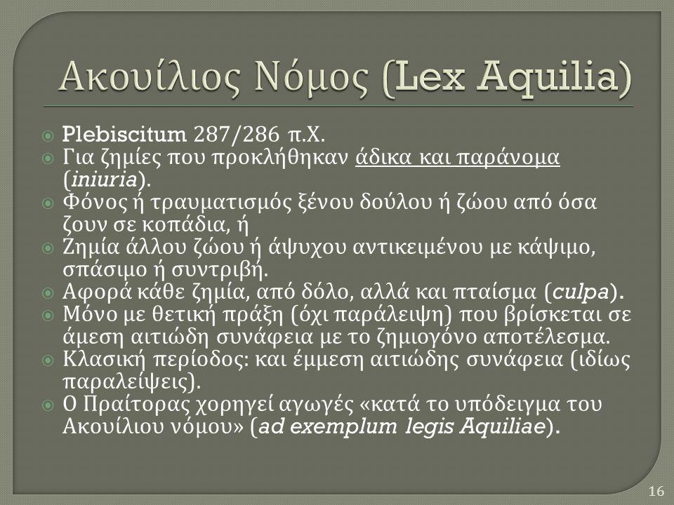 Plebiscitum 287/286 π. Χ.  Για ζημίες που προκλήθηκαν άδικα και παράνομα (iniuria).  Φόνος ή τραυματισμός ξένου δούλου ή ζώου από όσα ζουν σε κοπά