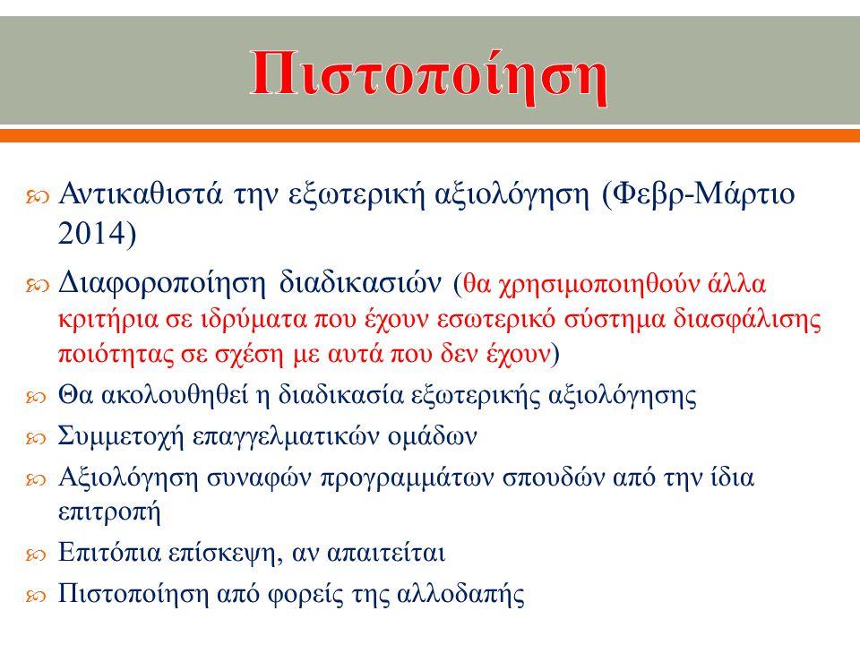  Αντικαθιστά την εξωτερική αξιολόγηση ( Φεβρ - Μάρτιο 2014)  Διαφοροποίηση διαδικασιών ( θα χρησιμοποιηθούν άλλα κριτήρια σε ιδρύματα που έχουν εσωτερικό σύστημα διασφάλισης ποιότητας σε σχέση με αυτά που δεν έχουν )  Θα ακολουθηθεί η διαδικασία εξωτερικής αξιολόγησης  Συμμετοχή επαγγελματικών ομάδων  Αξιολόγηση συναφών προγραμμάτων σπουδών από την ίδια επιτροπή  Επιτόπια επίσκεψη, αν απαιτείται  Πιστοποίηση από φορείς της αλλοδαπής