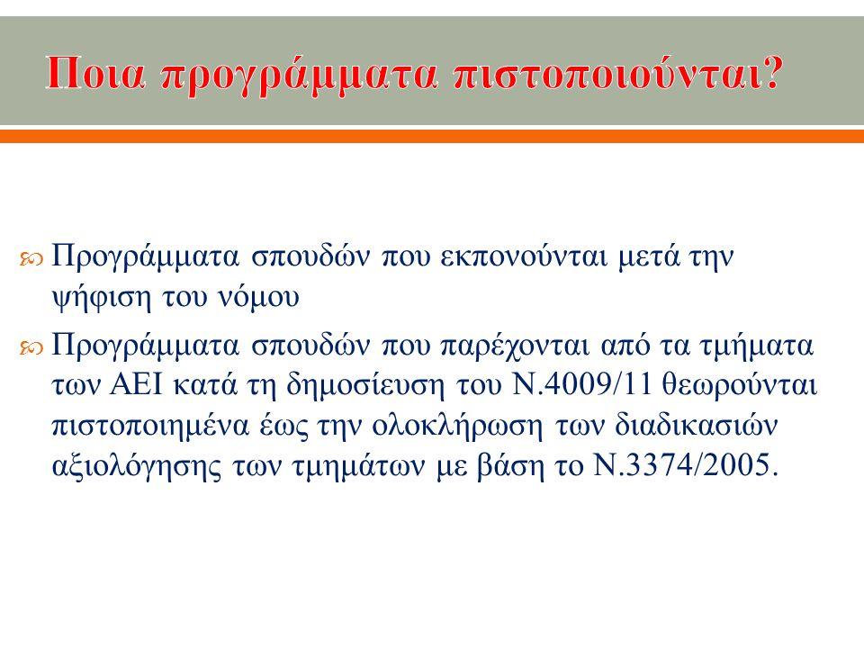  Προγράμματα σπουδών που εκπονούνται μετά την ψήφιση του νόμου  Προγράμματα σπουδών που παρέχονται από τα τμήματα των ΑΕΙ κατά τη δημοσίευση του Ν.4009/11 θεωρούνται πιστοποιημένα έως την ολοκλήρωση των διαδικασιών αξιολόγησης των τμημάτων με βάση το Ν.3374/2005.