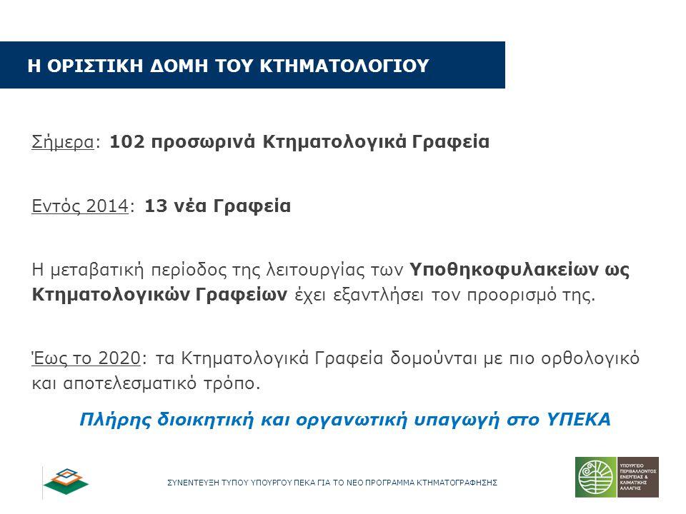 ΣΥΝΕΝΤΕΥΞΗ ΤΥΠΟΥ ΥΠΟΥΡΓΟΥ ΠΕΚΑ ΓΙΑ ΤΟ ΝΕΟ ΠΡΟΓΡΑΜΜΑ ΚΤΗΜΑΤΟΓΡΑΦΗΣΗΣ Σήμερα: 102 προσωρινά Κτηματολογικά Γραφεία Εντός 2014: 13 νέα Γραφεία Η μεταβατικ