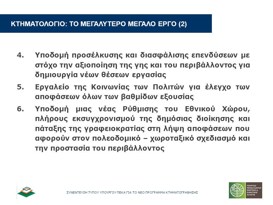 ΣΥΝΕΝΤΕΥΞΗ ΤΥΠΟΥ ΥΠΟΥΡΓΟΥ ΠΕΚΑ ΓΙΑ ΤΟ ΝΕΟ ΠΡΟΓΡΑΜΜΑ ΚΤΗΜΑΤΟΓΡΑΦΗΣΗΣ ΚΤΗΜΑΤΟΛΟΓΙΟ: ΤΟ ΜΕΓΑΛΥΤΕΡΟ ΜΕΓΑΛΟ ΕΡΓΟ (2) 4.Υποδομή προσέλκυσης και διασφάλισης