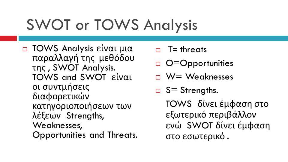 SWOT or TOWS Analysis  TOWS Analysis είναι μια παραλλαγή της μεθόδου της, SWOT Analysis. TOWS and SWOT είναι οι συντμήσεις διαφορετικών κατηγοριοποιή