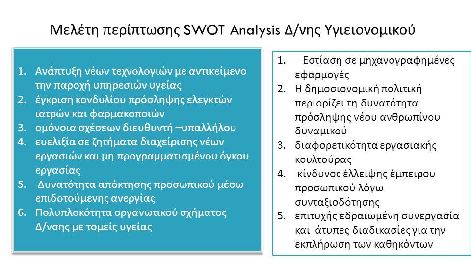 Μελέτη περίπτωσης SWOT Analysis Δ/νης Υγιειονομικού 1. Ανά π τυξη νέων τεχνολογιών με αντικείμενο την π αροχή υ π ηρεσιών υγείας 2. έγκριση κονδυλίου