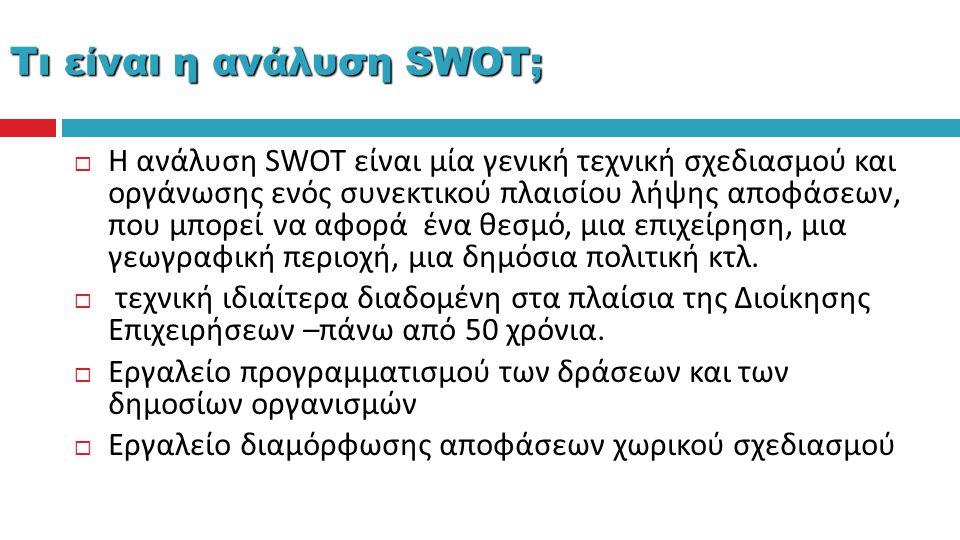  Η ανάλυση SWOT είναι μία γενική τεχνική σχεδιασμού και οργάνωσης ενός συνεκτικού πλαισίου λήψης αποφάσεων, που μπορεί να αφορά ένα θεσμό, μια επιχεί