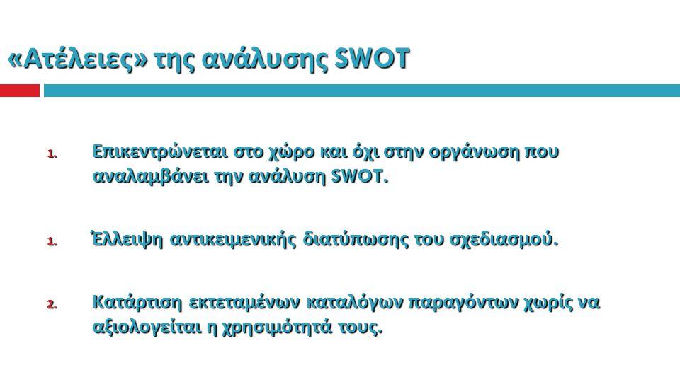« Ατέλειες » της ανάλυσης SWOT 1. Επικεντρώνεται στο χώρο και όχι στην οργάνωση που αναλαμβάνει την ανάλυση SWOT. 1. Έλλειψη αντικειμενικής διατύπωσης