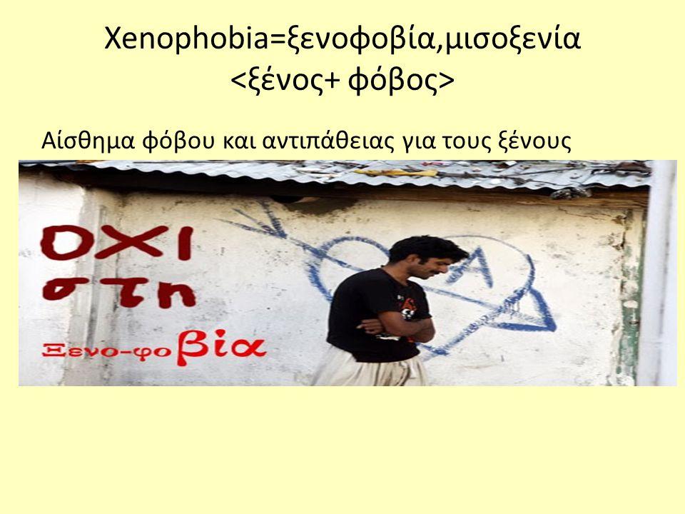 Xenophobia=ξενοφοβία,μισοξενία Αίσθημα φόβου και αντιπάθειας για τους ξένους