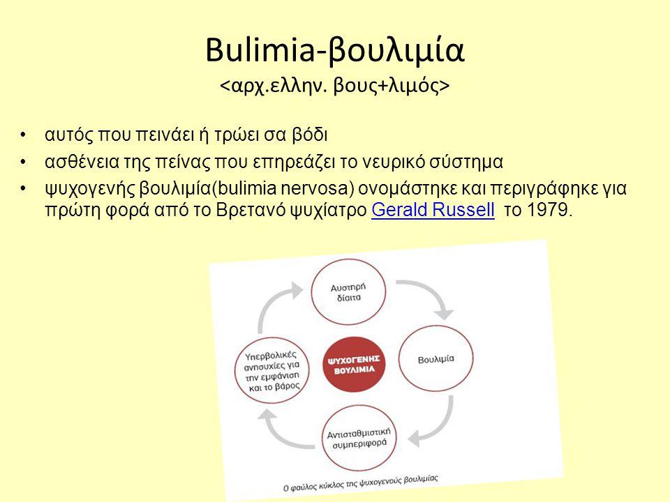 Bulimia-βουλιμία •αυτός που πεινάει ή τρώει σα βόδι •ασθένεια της πείνας που επηρεάζει το νευρικό σύστημα •ψυχογενής βουλιμία(bulimia nervosa) ονομάστηκε και περιγράφηκε για πρώτη φορά από το Βρετανό ψυχίατρο Gerald Russell το 1979.