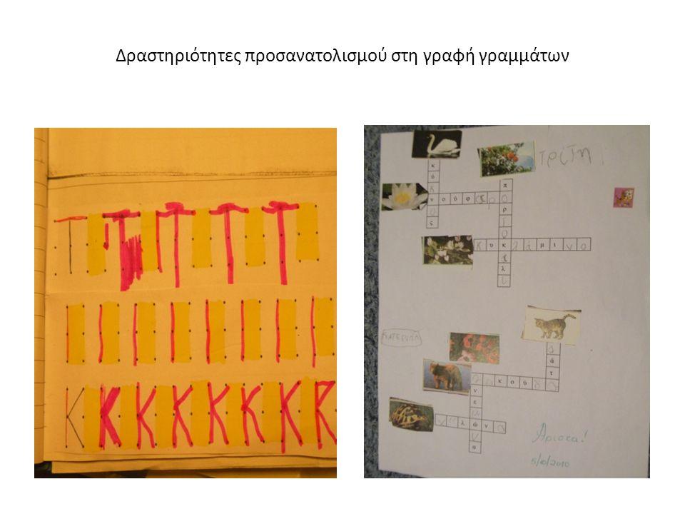 Δραστηριότητες προσανατολισμού στη γραφή γραμμάτων