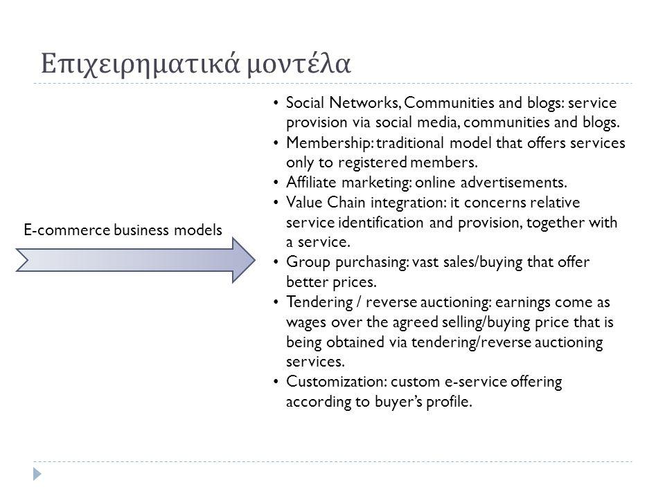 Επιχειρηματικά μοντέλα E-commerce business models • Social Networks, Communities and blogs: service provision via social media, communities and blogs.