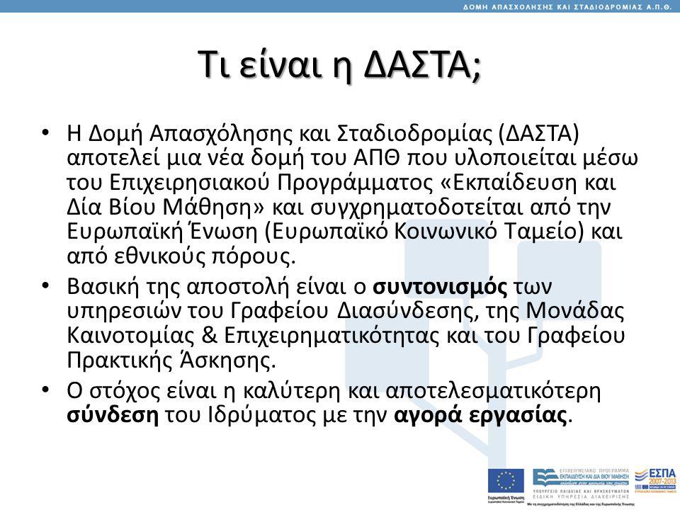 Τι είναι η ΔΑΣΤΑ; • Η Δομή Απασχόλησης και Σταδιοδρομίας (ΔΑΣΤΑ) αποτελεί μια νέα δομή του ΑΠΘ που υλοποιείται μέσω του Επιχειρησιακού Προγράμματος «Εκπαίδευση και Δία Βίου Μάθηση» και συγχρηματοδοτείται από την Ευρωπαϊκή Ένωση (Ευρωπαϊκό Κοινωνικό Ταμείο) και από εθνικούς πόρους.
