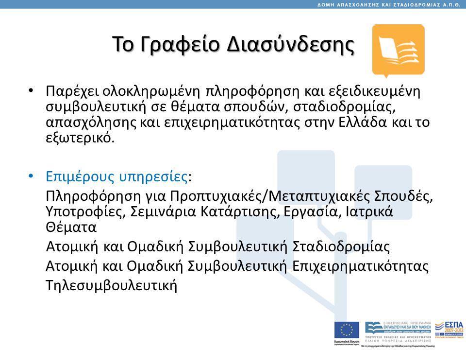 Το Γραφείο Διασύνδεσης • Παρέχει ολοκληρωμένη πληροφόρηση και εξειδικευμένη συμβουλευτική σε θέματα σπουδών, σταδιοδρομίας, απασχόλησης και επιχειρηματικότητας στην Ελλάδα και το εξωτερικό.