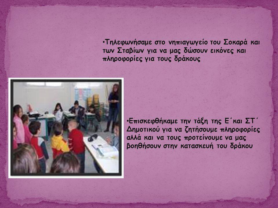 • Τηλεφωνήσαμε στο νηπιαγωγείο του Σοκαρά και των Σταβίων για να μας δώσουν εικόνες και πληροφορίες για τους δράκους • Επισκεφθήκαμε την τάξη της Ε΄κα