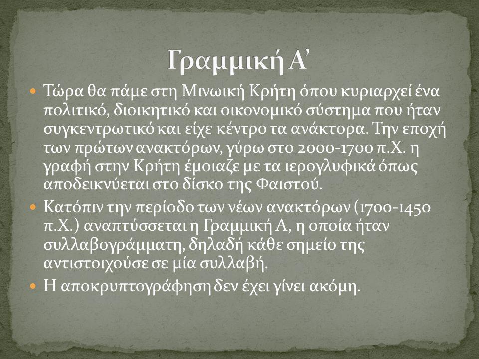  Τώρα θα πάμε στη Μινωική Κρήτη όπου κυριαρχεί ένα πολιτικό, διοικητικό και οικονομικό σύστημα που ήταν συγκεντρωτικό και είχε κέντρο τα ανάκτορα. Τη