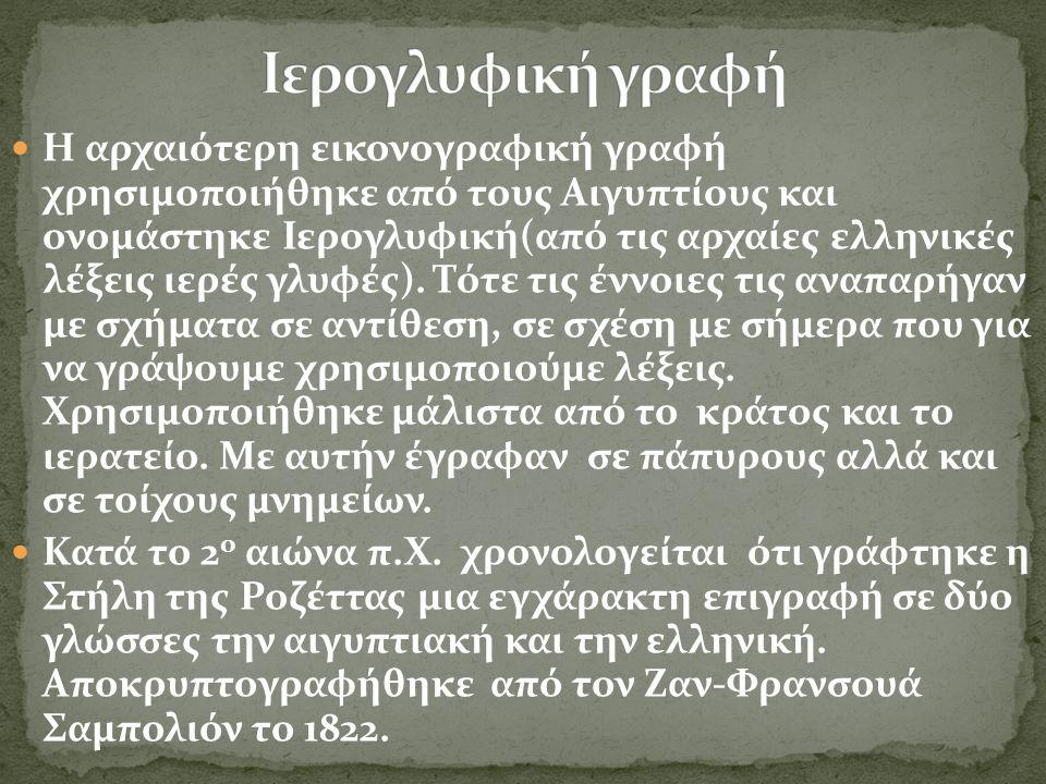 Η αρχαιότερη εικονογραφική γραφή χρησιμοποιήθηκε από τους Αιγυπτίους και ονομάστηκε Ιερογλυφική(από τις αρχαίες ελληνικές λέξεις ιερές γλυφές). Τότε