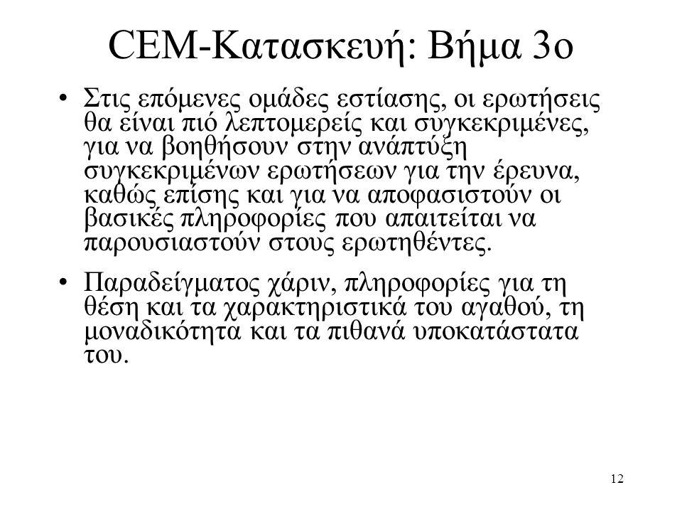 12 CEM-Κατασκευή: Βήμα 3ο •Στις επόμενες ομάδες εστίασης, οι ερωτήσεις θα είναι πιό λεπτομερείς και συγκεκριμένες, για να βοηθήσουν στην ανάπτύξη συγκ