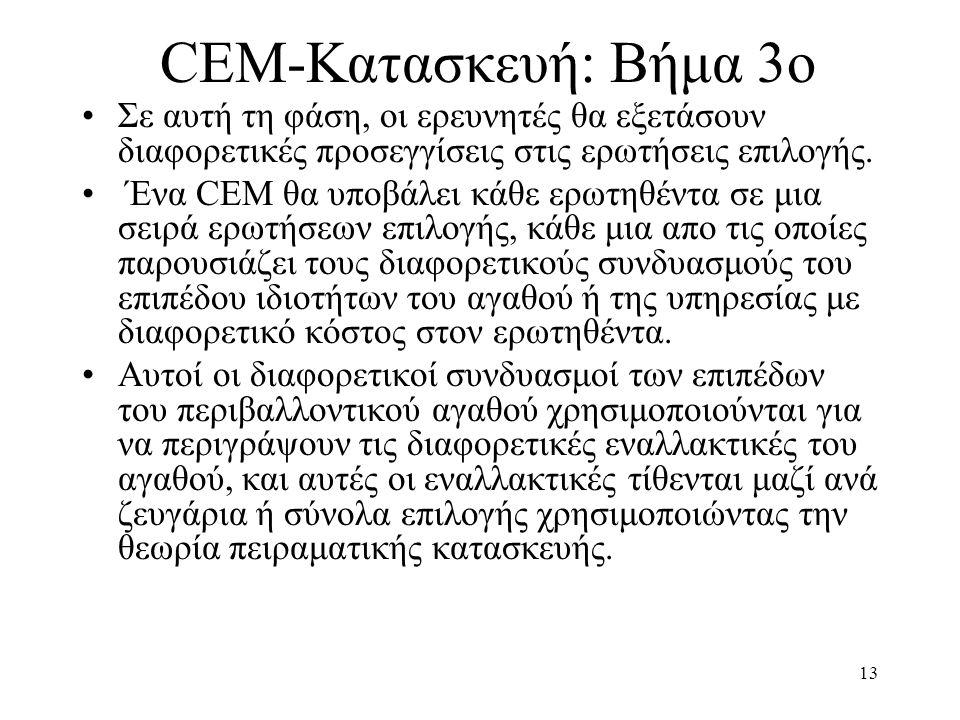 13 CEM-Κατασκευή: Βήμα 3ο •Σε αυτή τη φάση, οι ερευνητές θα εξετάσουν διαφορετικές προσεγγίσεις στις ερωτήσεις επιλογής. • Ένα CEM θα υποβάλει κάθε ερ
