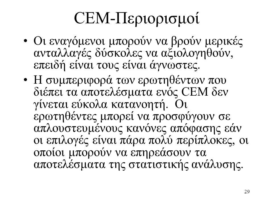29 CEM-Περιορισμοί •Οι εναγόμενοι μπορούν να βρούν μερικές ανταλλαγές δύσκολες να αξιολογηθούν, επειδή είναι τους είναι άγνωστες. •Η συμπεριφορά των ε