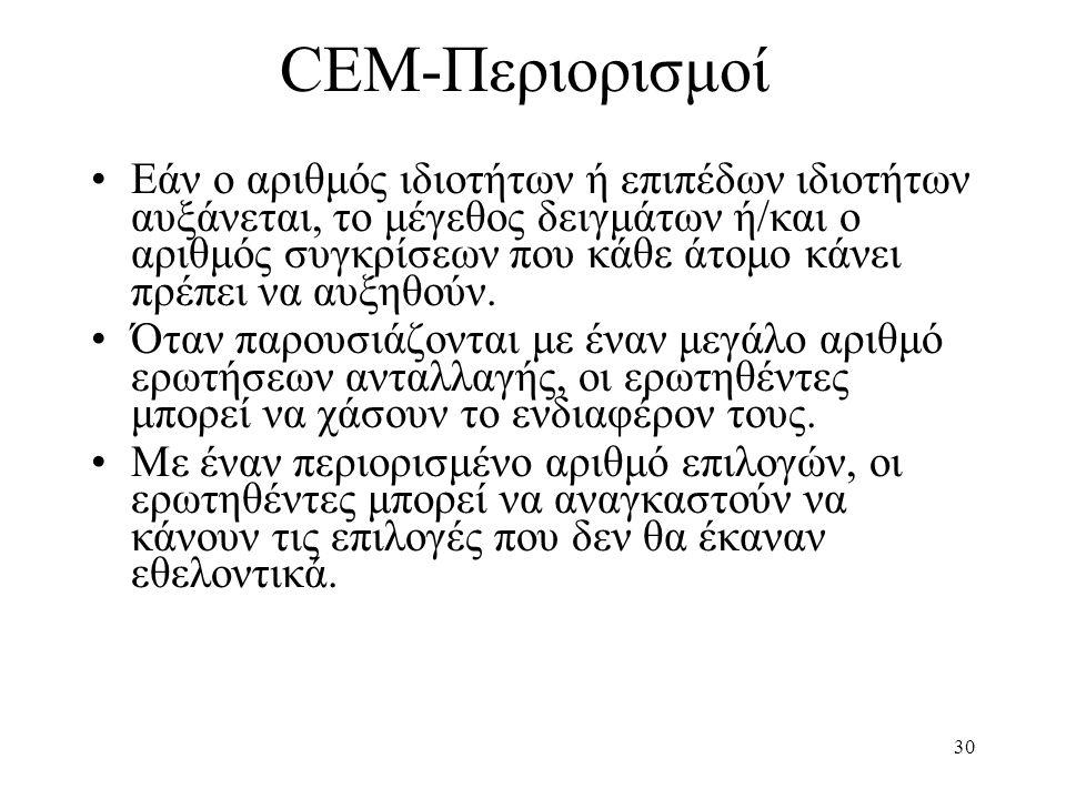 30 CEM-Περιορισμοί •Εάν ο αριθμός ιδιοτήτων ή επιπέδων ιδιοτήτων αυξάνεται, το μέγεθος δειγμάτων ή/και ο αριθμός συγκρίσεων που κάθε άτομο κάνει πρέπε
