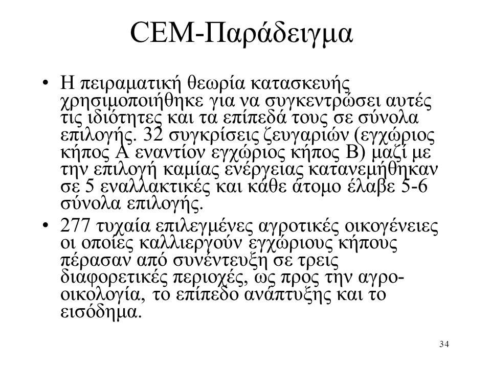 34 CEM-Παράδειγμα •Η πειραματική θεωρία κατασκευής χρησιμοποιήθηκε για να συγκεντρώσει αυτές τις ιδιότητες και τα επίπεδά τους σε σύνολα επιλογής. 32