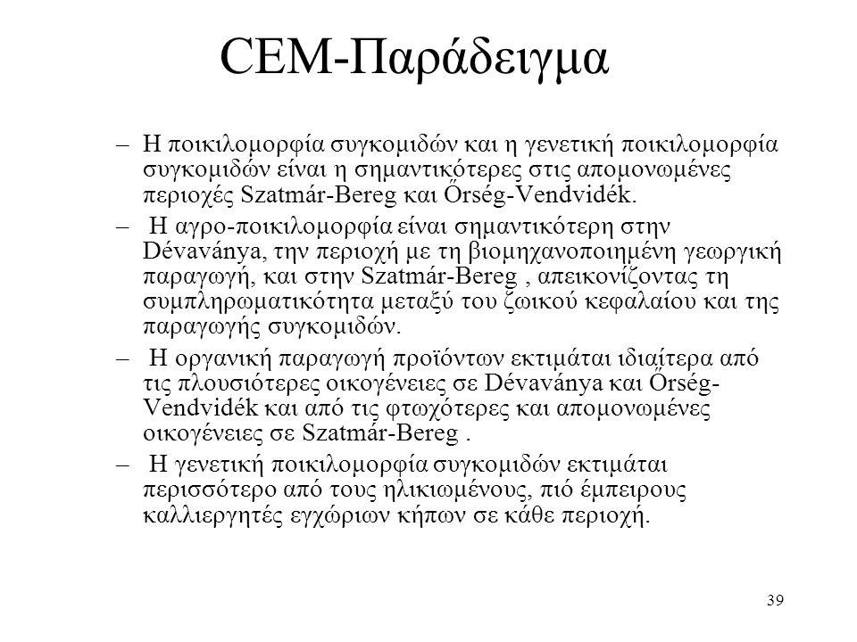39 CEM-Παράδειγμα –Η ποικιλομορφία συγκομιδών και η γενετική ποικιλομορφία συγκομιδών είναι η σημαντικότερες στις απομονωμένες περιοχές Szatmár-Bereg