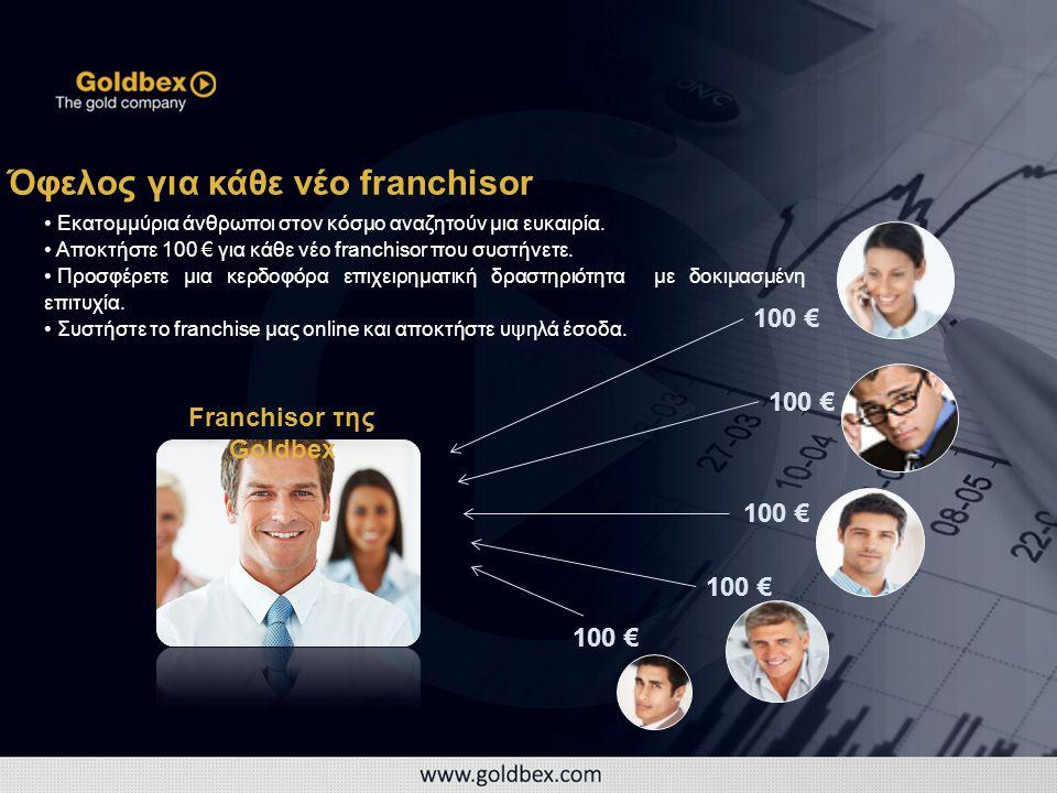 100 € Όφελος για κάθε νέο franchisor Franchisor της Goldbex • Εκατομμύρια άνθρωποι στον κόσμο αναζητούν μια ευκαιρία.